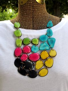Turquoise Tagua Necklace /// NEON /// Yellow /// Black /// Green /// Lime /// PINK /// Statement /// Stringing Magazine /// Charity
