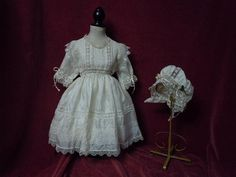 Exquisite Antique pure silk Dress Bonnet for french bebe Jumeau doll from believe on Ruby Lane