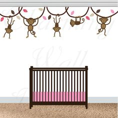 Monkey Wall Decals, Monkey Decals, Monkey Nursery, Swinging Monkeys, Pink Monkeys, Girls Nursery Wall Decals, Vinyl Decals, Monkey Prints