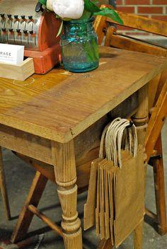 craft fair table idea, love the hook for bags