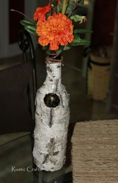 Birch bark wine bottle craft