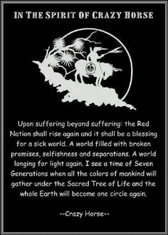 American ~ I pray that this prophecy comes true. ~ Crazy Horse was an Ogala Sioux Chief. Native American Prayers, Native American Spirituality, Native American Wisdom, Native American Beauty, Native American History, American Indians, Indian Spirituality, Native American Legends, Native American Horses