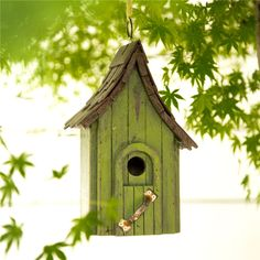 "11.61""H Hanging Distressed Wooden Garden Bird House, Green"