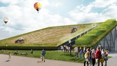 robotic tractors to farm crops on sloping roof of New Holland's Milan Expo pavilion by Carlo Ratti Associati.