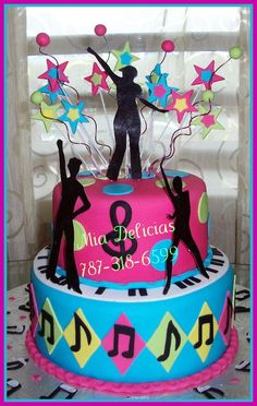 Disco Music Cake I like the color scheme to this. 80s Birthday Parties, Dance Party Birthday, 70s Party, Disco Party, Music Themed Cakes, Music Cakes, 12th Birthday Cake, Birthday Cakes For Women, Grease Themed Parties
