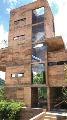 Residential Architecture, Amazing Architecture, Architecture Design, Cement Design, Mexico Destinations, Small Apartment Living, Apartment Balcony Decorating, Micro House, Unique Buildings