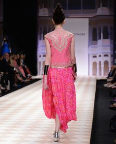 Hot Pink Bandhani Dhoti Gown with Bandi Jacket