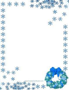 Blue snowflakes arranged around the page border Birthday Clip Art Free, Free Birthday Clipart, Birthday Clips, Free Printable Stationery, Templates Printable Free, Christmas Lights Clipart, Christmas Decorations, Free Christmas Borders, Thanksgiving Clipart Images