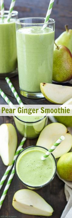 4 Points About Vintage And Standard Elizabethan Cooking Recipes! Pear Ginger Smoothie This Pear Ginger Smoothie Is Full Of Fiber, Protein And Greens It's The Perfect Healthy Way To Start The Day Yummy Smoothies, Breakfast Smoothies, Smoothie Drinks, Yummy Drinks, Healthy Drinks, Healthy Eating, Healthy Protein, Protein Snacks, Detox Breakfast