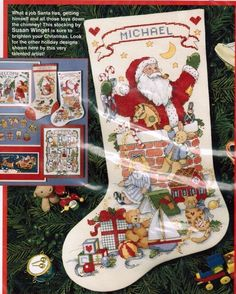 Santa In the Chimney Stocking Christmas Counted Cross Stitch Kit Dimensions NIP #Dimensions #Stocking