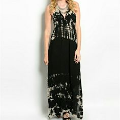 Black & Tan Tie Dye Maxi Dress Soft & flowy V Neck halter ties behind neck. Low open back features a Drawstring for a personalized fit and added detail. Slits on both sides. Hem features longer sides.   Discounts with bundles!  NO Trades NO Paypal Resonable offers Considered. Boutique Dresses