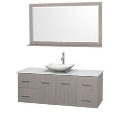 Wyndham Collection Centra 60 inch Single Bathroom Vanity in Gray Oak, White Man-Made Stone Countertop, Arista White Carrera Marble Sink, and 58 inch Mirror