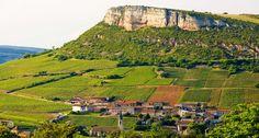 La roche de Solutre, with vineyards, Bourgogne, France.