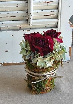 Your place to buy and sell all things handmade Dried Flower Wreaths, Dried Flowers, Red And Pink Roses, Woodsy Wedding, Lambs Ear, Clay Pots, Floral Arrangements, Floral Wreath, Holiday