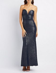 Textured Strapless Maxi Gown