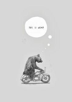 This is weird. Bear on motorcycle illustration x Bear Illustration, Tatoo Art, Bear Art, Grafik Design, Graphic, Illustrations Posters, Street Art, Character Design, Doodles