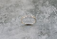 Hand made Sterling Silver Leaf Ring Silver by AbigailJewellery