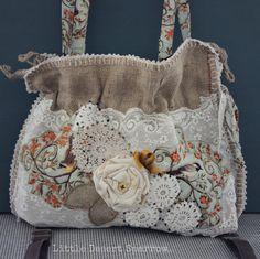 Shabby Burlap Sack Purse Tote Handbag by LittleDesertSparrow