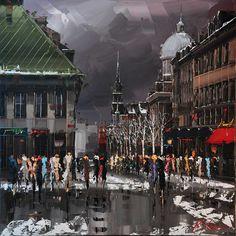 """Kal Gajoum ~ Vieux-Montréal Winter Ambiance 36""""x36"""""""