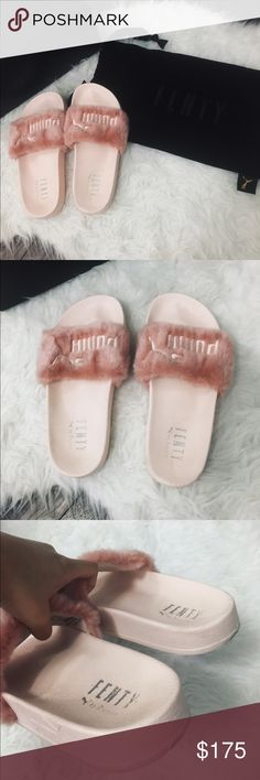 Puma Rihanna Fenty Pink Fur Slides size 5.5/6.5/7 Puma Rihanna Fenty Leadcat Shell Pink Fur Slides size 5.5 but fits a 6.5/7. Worn 3 times. Condition: 9/10. 100% authentic. Comes with dust bag and box. CHEAPER ON Ⓜ️ERCARI & DEPOP!!! Puma Shoes Slippers