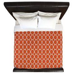 Orange White Rectangle Links King Duvet on CafePress.com