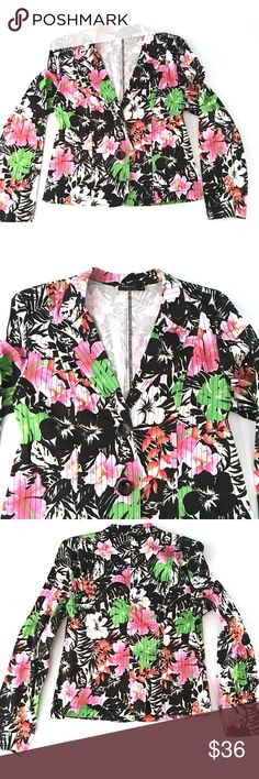 Bright Hawaiian Themed Blazer Bright Hawaiian Print Blazer // sz 10 // Tribal brand // 97% cotton, 3% spandex. Tag says Stretch Extensible // two button front // Colors are black, white, red, green, pink, yellow, orange // Hawaiian flowers with black stripes // soft and stretchy //non-smoking home // measurements available upon request // not my size. Can't model. // Offers Welcome! // 20% off 3+ Bundles // 10.29.36. {career wear/office/work attire/business wear/business casual/job clothes}…