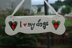 """I Love My Dogs"" Ceramic Ornament with Swarovski Crystal Hearts $15 