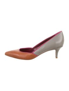 Grey and brown leather M Missoni pointed-toe pumps with trim throughout and covered heels. Includes dust bag.