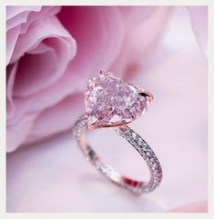 Simple Engagement Rings For Girls Who Love Classic ★ See more: ohsoperfectpropos. Pink Diamond Engagement Ring, Engagement Ring Shapes, Pink Diamond Jewelry, Heart Shaped Engagement Rings, Solitaire Engagement, Disney Engagement Rings, Heart Shaped Diamond Ring, Rose Gold Heart Ring, Pink Wedding Rings