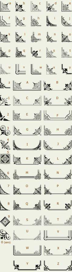Letterhead Fonts / LHF Corner Specimens / Scrolls and Borders by dawnereed Game Design, Web Design, Zentangle Patterns, Zentangles, Letterhead, Doodle Art, Line Art, Design Elements, Art Reference
