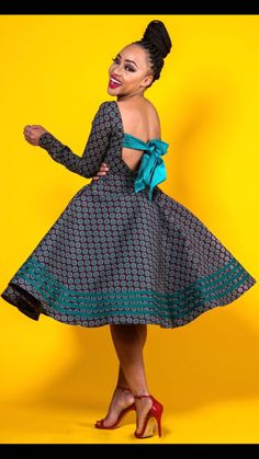 This Open back African print Ankara seshoeshoe shweshwe kitenge asoebi wax print fabric vintage flared vestidos dress is just one of the custom, handmade pieces you'll find in our dresses shops. African Fashion Designers, Latest African Fashion Dresses, African Dresses For Women, African Print Dresses, African Print Fashion, Africa Fashion, African Attire, African Wear, African Style
