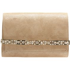 Pre-Owned Jimmy Choo Bow Crystal Bar Tan Suede Flap Clutch ($960) ❤ liked on Polyvore featuring bags, handbags, clutches, tan, colorful purses, jimmy choo purses, suede handbags, tan purse and jimmy choo