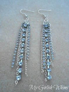 DIY Earrings and Homemade Jewelry Projects - Rhinestone Chain Earrings - Easy Studs, Ideas with Beads, Dangle Earring Tutorials, Wire, Feather, Simple Boho, Handmade Earring Cuff, Hoops and Cute Ideas for Teens and Adults http://diyprojectsforteens.com/diy-earrings #diystudearringswire #HomemadeJewelry #homemadeearrings #diystudearringsbeads