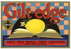 GILT EDGE Vintage Lemon Crate Label, Citrus