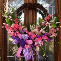 Mother's Day Spring Wreath Assorted Pink Purple and White Flowers