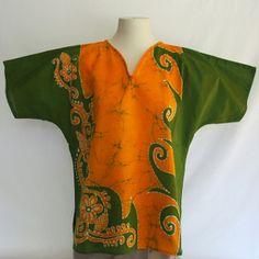 """Batik Blouse-Saffron and Green (Large) 44""""/$40"""