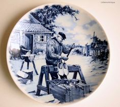 Vintage Delft-Blauw Handdecorated Made in Holland Home Decor Wall Plaque Collectible Blue and White Wall Hanging Plate by LittlemixAntique on Etsy Hanging Plates, Pottery Making, Glazes For Pottery, China Patterns, Delft, 16th Century, Wall Plaques, Holland, Blue And White