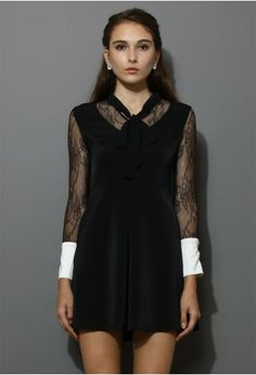 Black Lace Dress with Contrast Cuffs - New Arrivals - Retro, Indie and Unique Fashion