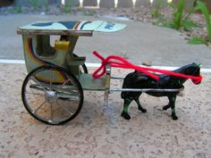 Filipino Kalesa Horse Drawn Kalesh Tin Metal Toy Souvenir Buggy Carriage Cart Philippines Hand Painted