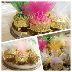 Gold favour boxes by ArosiDecor with various shades of tulle. Which colour do you like? Afghan wedding, persian wedding, arab wedding, asian wedding