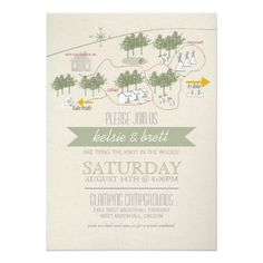 Campground Map Camping Wedding Card