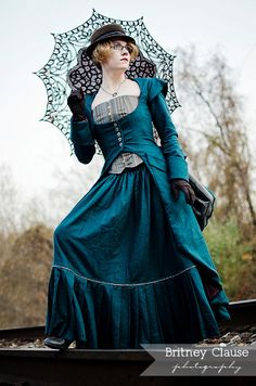 Miss Giselle goes undercover ~ Victorian Steampunk 3-piece ensemble in denim or twill ~ skirt bustier and long corset jacket by porshesplace on Etsy https://www.etsy.com/listing/166864242/miss-giselle-goes-undercover-victorian