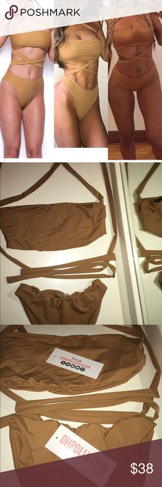 Oh Polly Multiway Strappy Bikini Size L European BRAND NEW OH POLLY FASHION BRAND BIKINI. HIGH CUT BOTTOMS & TUBE TOP WITH LONG STRAPS THAT CAN BE CRISS CROSSED & WORN MULTIWAY. PHOTOS TAKEN WITH FLASH & WITHOUT FLASH TO SHOW THE TRUE TAN COLOR. I PURCHASED THE WRONG SIZE & HAD CUT THE TAGS, BUT IT IS BRAND NEW & NEVER BEEN WORN. TAGS AND ORIGINAL PACKAGING INCLUDED. EUROPEAN SIZE CHART IN PHOTOS. Oh Polly Swim Bikinis
