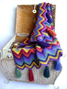 Ripple colors  #crochet #afghan #blanket #throw #ripple #chevron #color