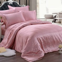 luxury classic pure color mulberry silk bedding sets