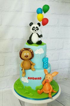 Canal Panda, Bolo Panda, Panda Cakes, Twins Cake, Baby Birthday Cakes, Girl Cakes, 4 Kids, Tiered Cakes, Holidays And Events