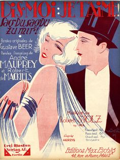 """Cover Sheet Music by Willy Herzig, 1929, """"Dis-moi: je t'aime!"""". (G)"""