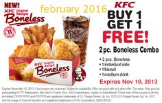 KFC has a new coupon out for Buy one Boneless combo meal and get 1 FREE! This KFC coupon is valid through If you enjoyed this post, […] Kfc Printable Coupons, Kfc Coupons, Grocery Coupons, Free Coupons, Print Coupons, Mcdonalds Coupons, Restaurant Deals, Fast Food Restaurant, Great Clips Coupons