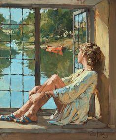 Hedley, Paul (b,1947)- Woman Sitting on Windowsill, Looking Out Window