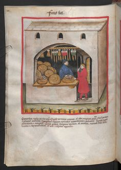 Folio 56v (page 116). Tacuinum sanitatis, Codex Vindobonensis, series nova 2644. Northern Italy, probably Verona, 1380-1399. Keywords: Cinnamon bun